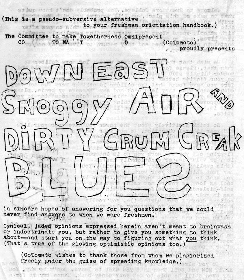 Crum Creak Blues, alternative freshman handbook